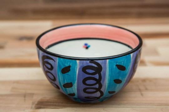 Vertical Stripey sugar bowl in Blue