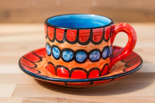 Fruity small cup and saucer in Red