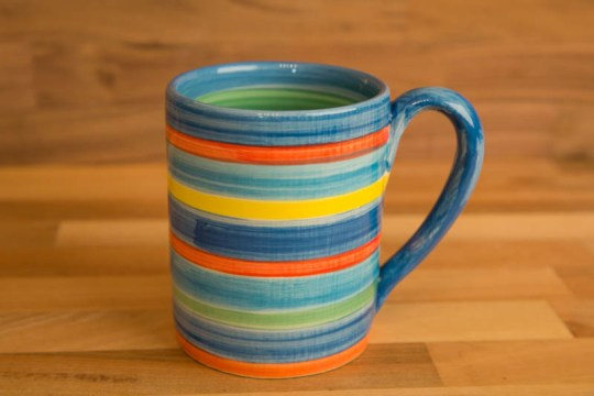 Horizontal Stripey parallel pint mug in Blue