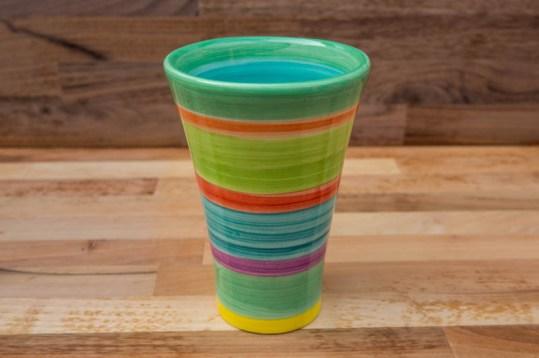 Horizontal Stripey large vase in Green