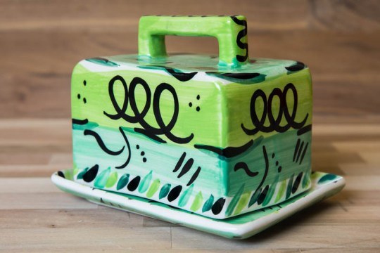 Abstract butter dish in green