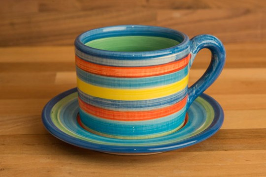 Horizontal stripey small cup and saucer in Blue