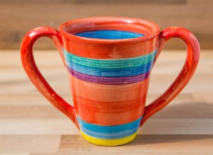 Tapered double handle mug in red