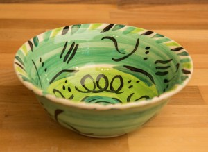 Abstract cereal bowl in green