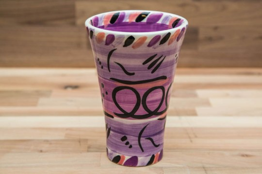 Abstract large vase in purple