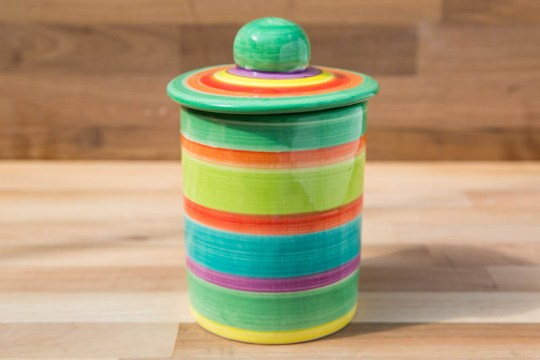 Horizontal stripey tea caddy in green