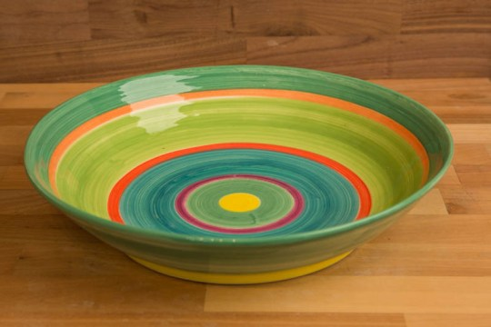 Horizontal Stripey salad/fruit bowl in Green