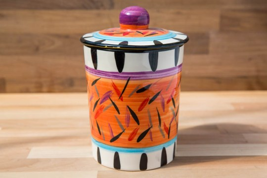 Splash tea caddy in Orange