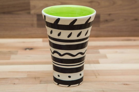 Black and White small vase in Banded