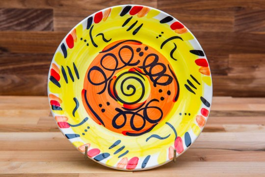 Abstract 8″ side plate in yellow