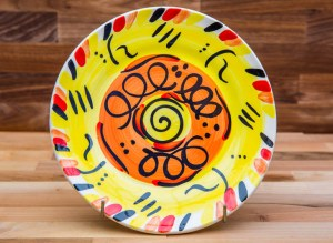 Abstract 11″ dinner plate in yellow