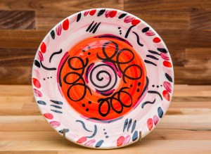 Abstract 11″ dinner plate in red