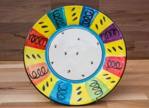 Vertical Stripey 11″ dinner plate in Multi