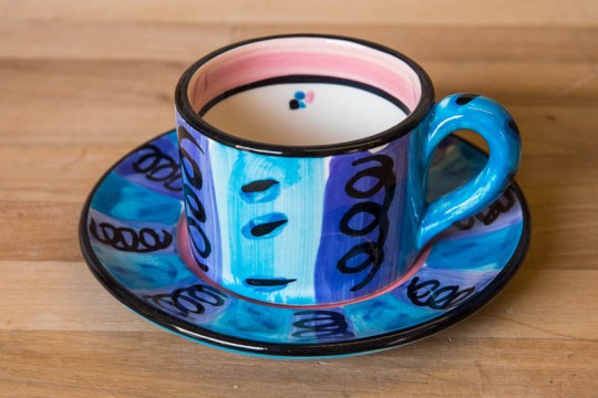 Vertical Stripey small cup and saucer in Blue