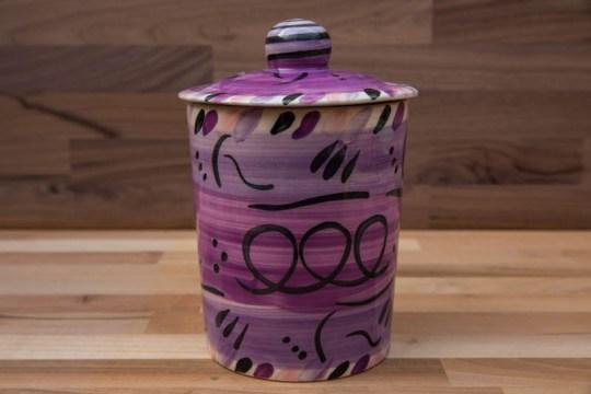 Abstract storage jar in purple
