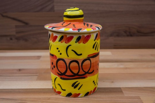 Abstract tea caddy in yellow
