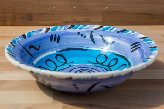 Abstract pasta bowl in blue