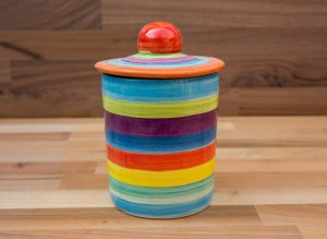 Horizontal stripey tea caddy in candy