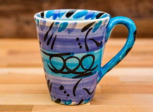 Abstract large tapered mug in blue