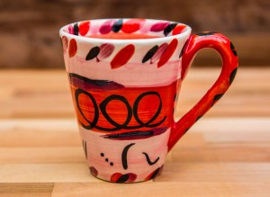 Abstract large tapered mug in red