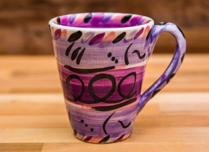 Abstract large tapered mug in purple