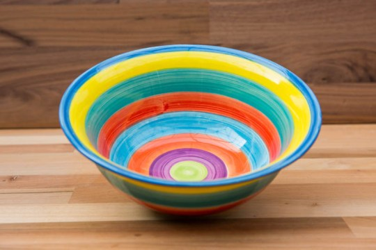 horizontal stripey cereal bowl in candy