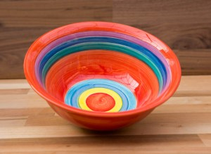 horizontal stripey cereal bowl in red