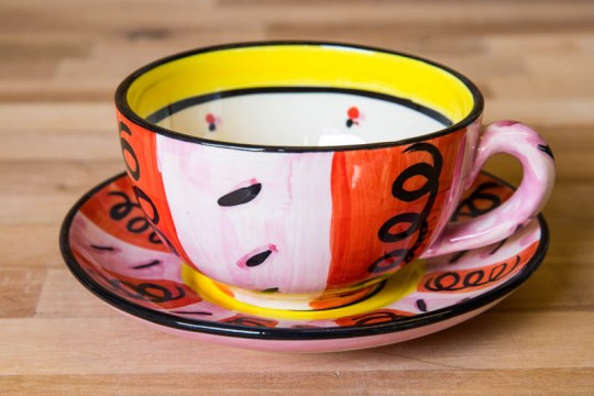 Vertical Stripey cup and saucer in Red