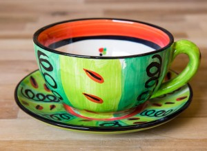 Vertical Stripey cup and saucer in Green