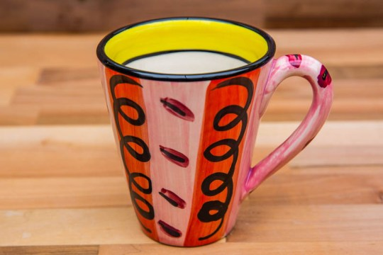 Vertical Stripey large tapered mug in Red
