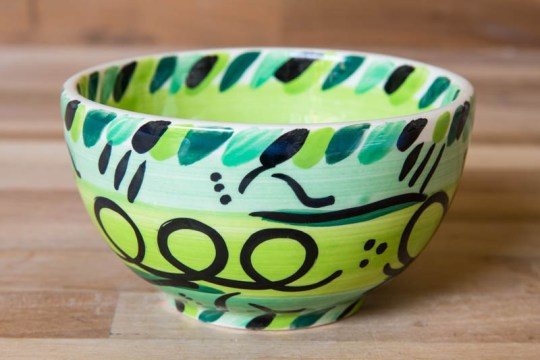 Abstract sugar bowl in green
