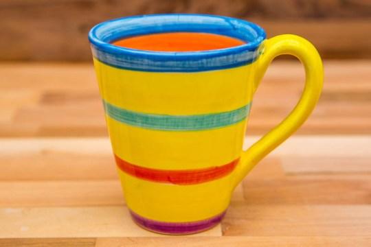 horizontal stripey large tapered mug in yellow