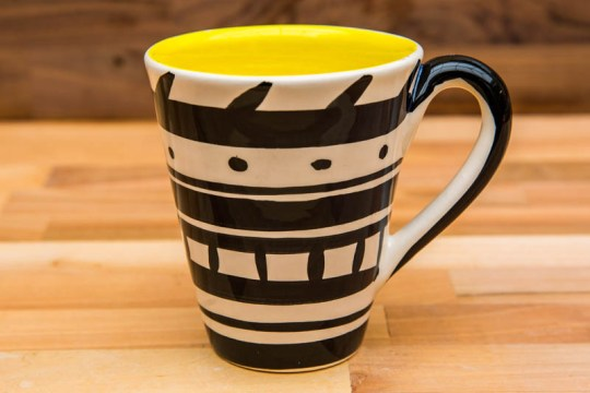 Black and White large tapered mug in banded