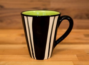 Black and White large tapered mug in broad stripe