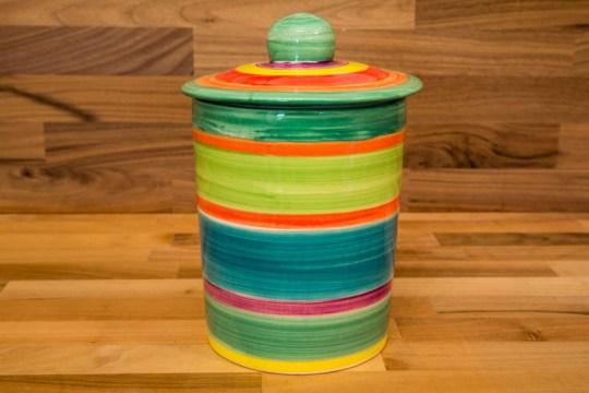 horizontal stripey storage jar in Green