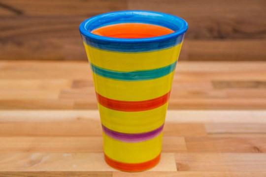 Horizontal Stripey small vase in Yellow