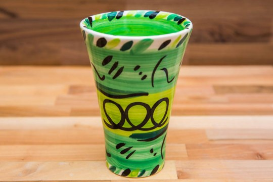 Abstract small vase in green