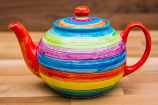 Horizontal Stripey medium teapot in candy