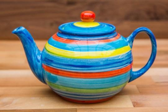 Horizontal Stripey medium teapot in Blue