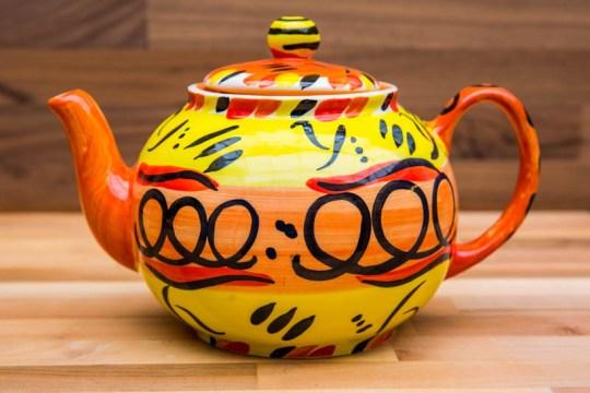 Abstract medium teapot in yellow