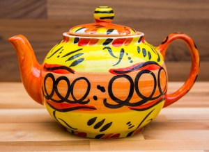 Abstract medium teapot in yellow