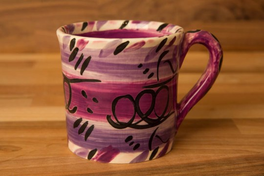 Abstract small parallel mug in purple