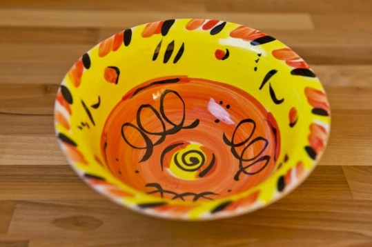 Abstract cereal bowl in yellow