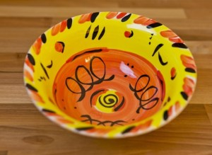Abstract cereal bowl in yellow Reckless Designs