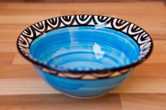 Aztec cereal bowl in bright blue