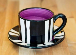 Black and white small cup and saucer in Broad Stripe