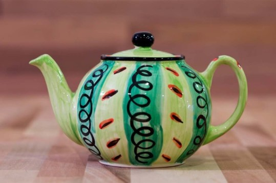 Vertical Stripey medium teapot in green