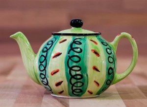 Vertical Stripey small teapot in green