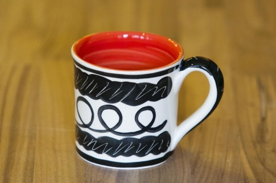 Black and white wide mug in scribble