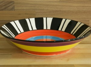 Hi-Life Gaudy fruit/salad bowl in broad stripe